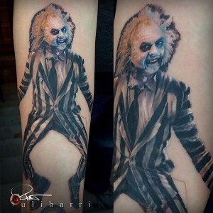Beetlejuice Tattoo by Brian Ulibarri color realism, color tattoos, black and grey, realistic tattoos, surrealism, painted portrait