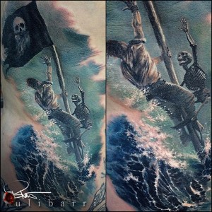Black Sails - Pirate and Skeleton Tattoo by Brian Ulibarri color realism, realistic tattoos, surrealism, painted portrait