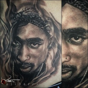 Tupac Black and Grey Portrait by Brian Ulibarri realism, portraits, black and grey, realism tattoos,
