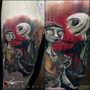 A movie themed tattoo sleeve in full color realism of the Nightmare Before Christmas Tattoo by Brian Ulibarri